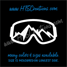Ski Goggles Snowboarding Mountain With Trees Downhill Extreme Sports Vinyl Decal Laptop Car Mirror Truck Hts Creations
