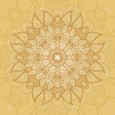 Tarjeta Mandala En Colores Amarillo Para Los Fondos Invitaciones