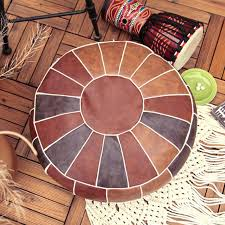 moroccan leather pouf embroider craft