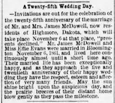 2 Nov 1886 25th Wedding Ancersary of James McDowell and Effie Evans. -  Newspapers.com