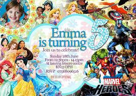 16 Invitaciones Fiesta De Cumpleanos Princesas Disney Super