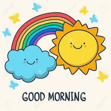 Divertido Dibujo Sonriente Sol, Nubes Y Arco Iris De Dibujos ...