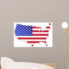 Usa Map With Flag Wall Decal Wallmonkeys Com