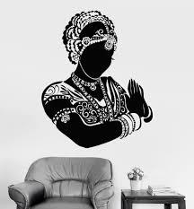 Vinyl Wall Decal Indian Dancer Bride Woman Head Devadasi Hindu 773ig Exterior Wall Art Mandala Design Art Art