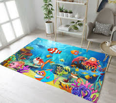 Undersea Cartoon Fish Living Room Yoga Mat Bedroom Carpet Floor Kids Area Rugs Ebay
