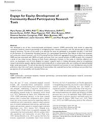 PDF) Engage for Equity: Development of Community-Based Participatory  Research Tools