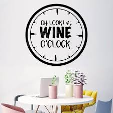 Wine O Clock Kitchen Wall Stickers For Kitchen Quote Wall Decals