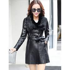 pu leather coat faux fur collar