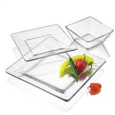 square clear glass dinnerware set