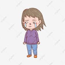 كارتون اليد مرسومة شخصية حزينة فتاة رسوم متحركة مرسومة باليد