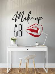 Makeup Wall Decal Beauty Salon Wall Sticker Red Lips Wall Etsy In 2020 Wall Stickers Red Gym Room At Home Wall Decals