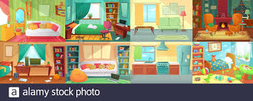 Room Interior Bedroom Living Room Kitchen Kids Bedroom With Furniture Teenage Room With Bed Table Stock Vector Image Art Alamy