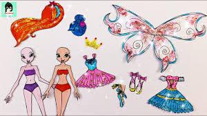 WINX CLUB Paper Dolls ballet - Drawing Gliter dresses for BLOOM ...