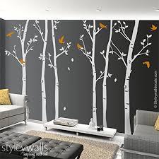 Amazon Com Winter Trees And Birds Wall Decal Tree Wall Decal Forest Trees Wall Decal Thin Birch Trees Wall Decal For Home Living Room Bed Room Decor Handmade