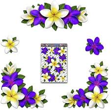 Amazon Com Jas Stickers Flower Plumeria Car Decals Purple White Frangipani Corners Vinyl Large Sticker Pack For Laptop Caravans Trucks Boats St00045pl Lge Home Kitchen