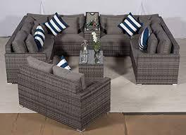 seater grey u shaped rattan sofa