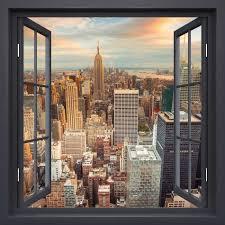 3d Hot Black Window New York Landscape Window Frame Mural Vinyl Bedroom Wallpaper Wall Decals Stickers Christmas Wall Sticker Wall Stickers Aliexpress