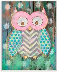 Amazon Com The Kids Room By Stupell Canvas Wall Art 10x15 Multi Color Distressed Woodland Owl Home Kitchen