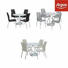110cm glass dining table 4 chairs