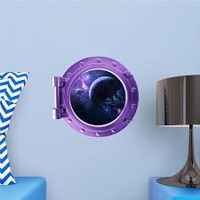 Amazon Com Space Porthole Decal Planet Decals Spaceship Faux Window Planet Wall Decal Porthole Decal 3d Wall Stickers Exploding Planets 1 Purple Portscape 12 Furniture Decor