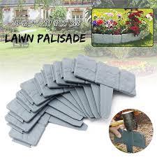 10 pcs grey garden fence edging cobbled