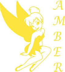Amazon Com Name Wall Decal For Girl Tinkerbell Fairy Silhouette Vinyl Decals Sticker Little Princess Is A Amber Name Tinkerbell Silhouette Wall Mural Art Decor Decal Wall Art 22 X 20 Yellow Home Kitchen