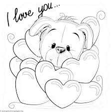 Free Instant Download Valentine I Love You Puppy Coloring Pages