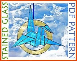 easy origami crane stained glass