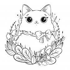 Kleurplaat Met Cartoon Pluizige Kat Met Bloemen En Boog
