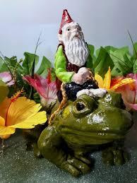 gnome riding bullfrog garden art