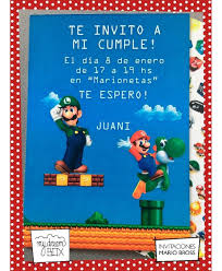Tarjetas Invitacion Cumple Infantil Mario Bros Luigi Evento