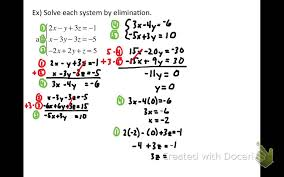 variable system by elimination