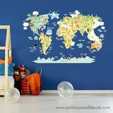 Map Of World Wall Decal Kids Map Wall Decal Map Wall Decal Etsy