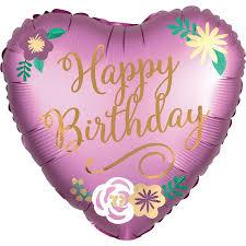 pink heart satin happy birthday balloon