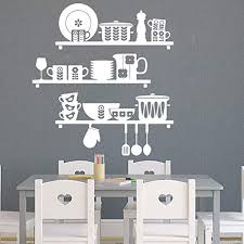 Amazon Com Nordic Kitchen Shelves Decal Kitchen Cooking Cooker Cup Tools Wall Decal Sticker Vinyl Kitchen Dinning Room Theme Made In Usa Kitchen Dining