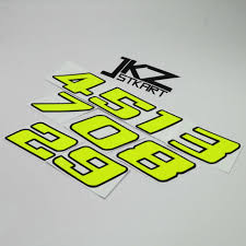 Decal Vinyl Die Cut Double Layer Number Neon Fluorescent Yellow Sticker For Car Motorcycle Atv Etc Outdoor Decoration Car Stickers Aliexpress