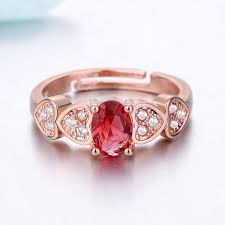 retro red crystal ring love heart