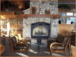 cozy river rock fireplace