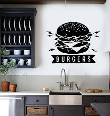 Vinyl Wall Decal Burgers Fast Food Restaurant Art Dining Room Stickers Wallstickers4you