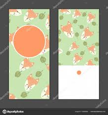 Set Of Birthday Greeting Cards With Red Fox And Green Leaves