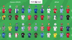 Kits from the 25 Premier League Seasons