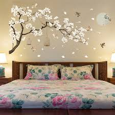 Large White Flower Wall Sticker Tree For Bedroom Adhesive Home Decor Family Tree Wall Decal Lovely Living Room Wall Picture Wall Stickers Aliexpress