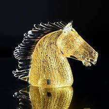 bucefalo gold horse head glass sculpture