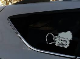 I Love My Soldier Dog Tags Military Vinyl Decal Bumper Sticker Etsy