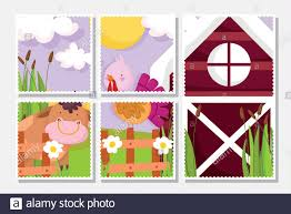 Farm Animals Cute Bull And Turkey Barn Fence Cards Vector Illustration Stock Vector Image Art Alamy