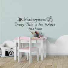 Amazon Com Wonderwallzstore Masterpieces Wall Decal Every Child Is An Artist Art Display Wall Decal Pablo Picasso Wall Decal Quote Playroom Wall Decal Nursery Art Home Kitchen