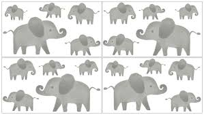 Elephant Grey And Blush Pink Collection Peel And Stick Wall Decal Stickers Set Of 4 Sheets