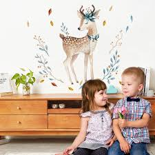 Dicor Painted Fawn Wall Stickers Animals Cute For Livingroom Decoration Diy Removable Wall Decal Studyroom Home Decor Qt289 Wall Stickers Aliexpress