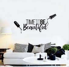 Vinyl Wall Decal Time To Be Beautiful Quote Manicure Polish Beauty Nai Wallstickers4you