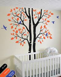 Custom Color Large Wall Tattoo Modern Baby Nursery Corner Trees Wall Decal With Flying Birds And Leaves Wall Stickers Jw215 Wall Stickers Aliexpress